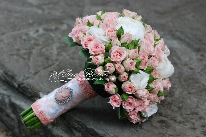 Букеты из пионов и роз на свадьбу органза деворе цветы купить