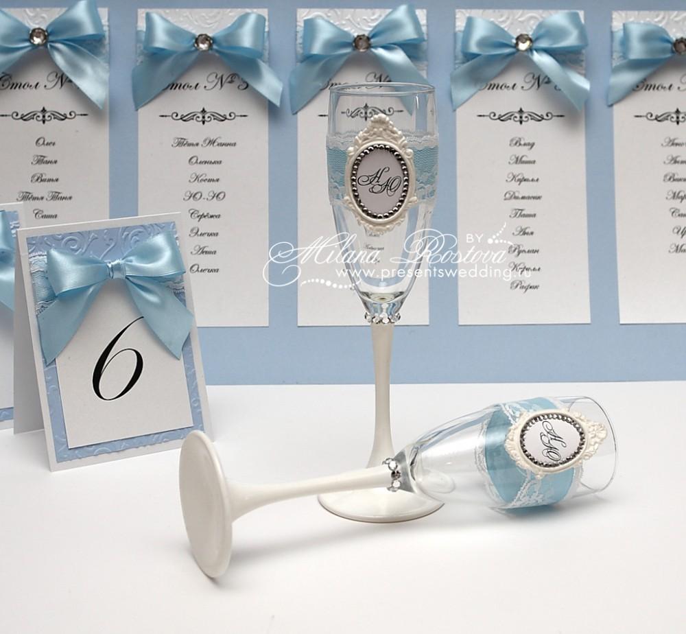 Бокалы свадебные с инициалами своими руками 26