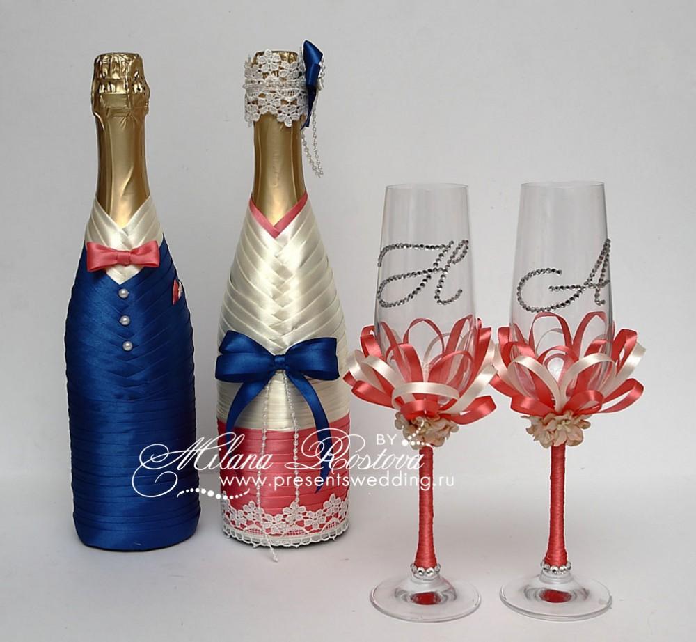 Как украсить шампанское и фужеры на свадьбу своими руками 2