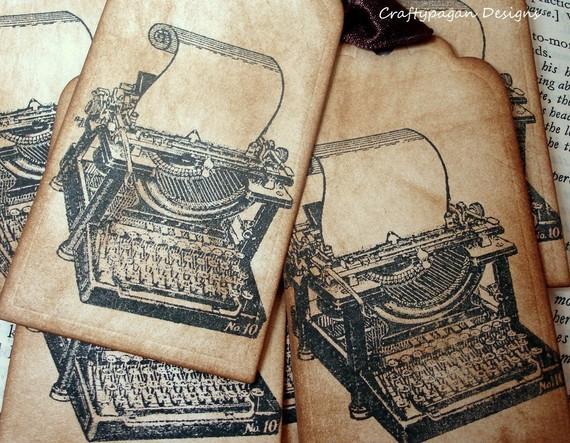 """Ярлычки на дерево пожеланий или подарки """"Печатная машинка"""", винтаж"""
