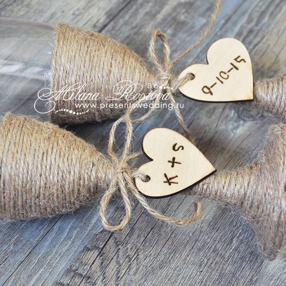 Бокалы свадебные с инициалами своими руками 3