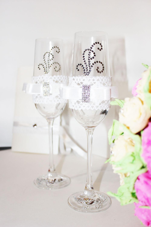 Украшение на бокалы свадьба фото