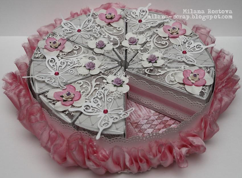 """Свадебный торт """"Бабочки в розовом"""""""